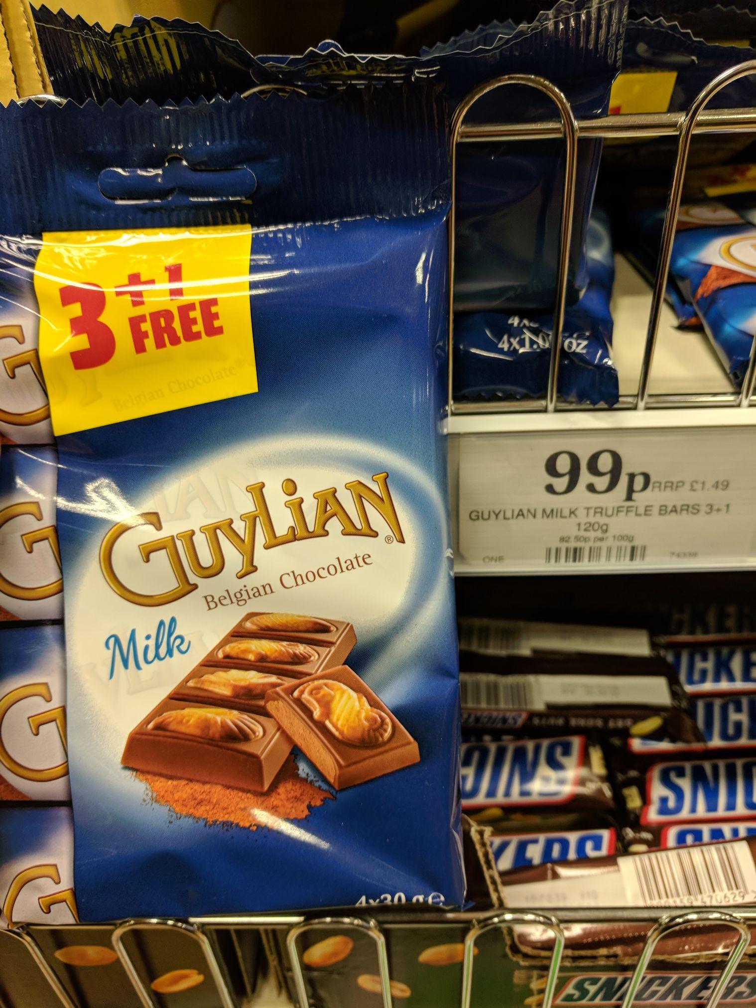 Guylian milk truffle bars 4 pack only 99p @ Home Bargains