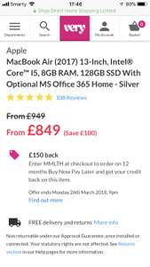 MacBook Air (2017) £849 (£699 after cashback) @ Very