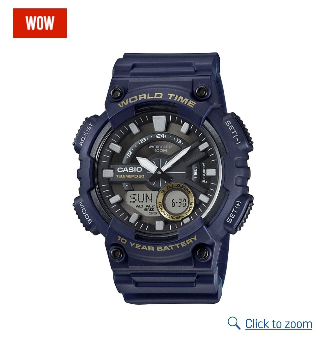 Casio World Time Telememo Blue Strap Combi Watch , £24.99 @ Argos