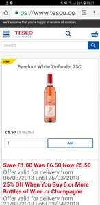 Barefoot White Zinfandel 75Cl £4.13 when buying six bottles £24.78 @ Tesco