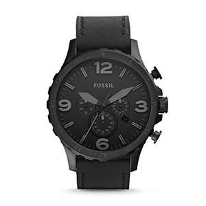 Amazon: FOSSIL Nate Chronograph Black Leather Watch with Quartz Movements @ £52.65 (Exclusive for Prime)