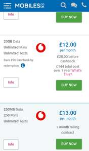 20GB data with ayce data/txt on Vodafone 12m contract £240 (£144 after cashback) with mobiles.co.uk or e2save.com (+ £10.50 with TopCashback)