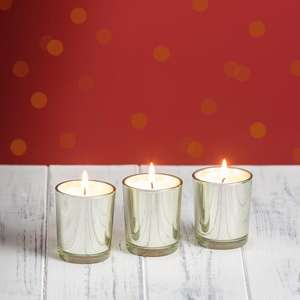 Wax filled glass votive holders X3 now £1.25 @ Morrison's online