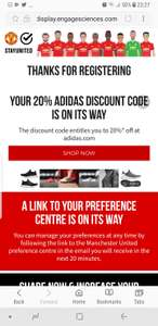 20% off Adidas.co.uk via Mnchester United website