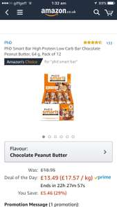 PhD Smart Bar High Protein Low Carb Bar Chocolate Peanut Butter, 64 g, Pack of 12 - £13.49  (Prime) / £18.24 (non Prime) at Amazon