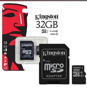 Kingston Micro SD SDHC, 32GB Memory Card 45MB/s  + Full Size SD Card Adapter - 32GB., for £8.99delivered (updated)@ 7dayshop