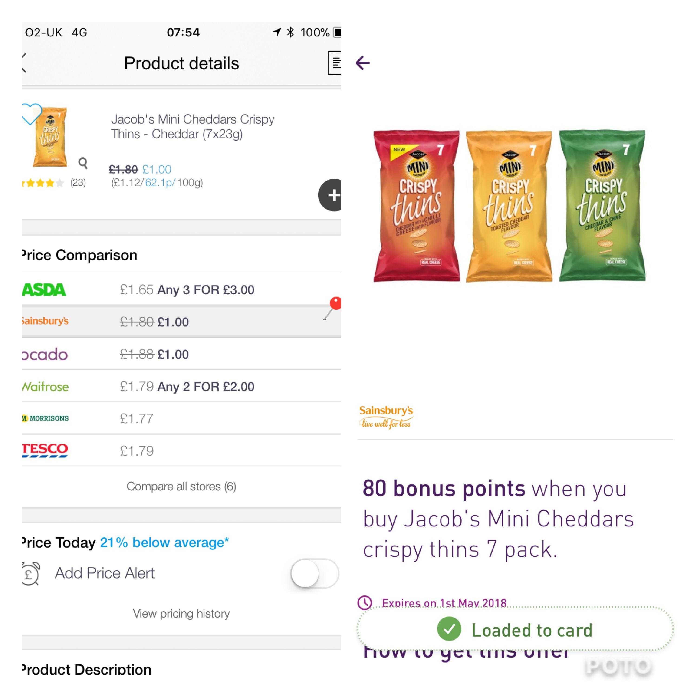 Mini cheddars crispy thins £1 at sainsburys plus 80 bonus nectar points