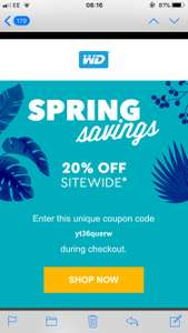 20% Off WD Store (emailed code)