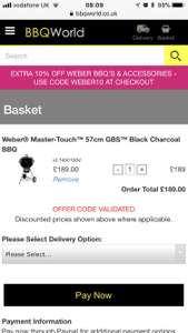 Weber Master Touch £189 including any GBS accessory  with code at bbqworld