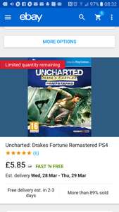 Uncharted drakes fortune remastered ps4 - £5.85 at shopto outlet ebay