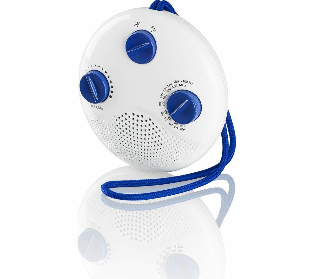 LOGIKLSR16 Portable Analogue Bathroom Radio - White & Blue £3.97 @ Currys