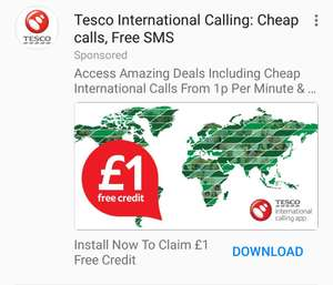 Free £1 Tesco Mobile call credit 1p per min international calls!