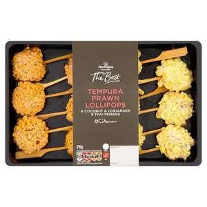 Morrisons The Best 12 Tempura Prawn Lollipops or Prawn Toasts x9 or Duck Selection x9 or Brushetta Selection 200g for 50p each @ Morrisons