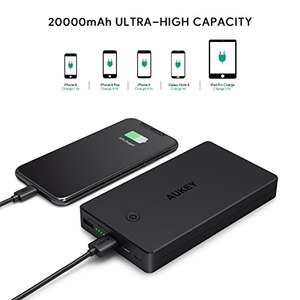 AUKEY Power Bank 20000mAh Portable Charger with Lightning/Micro-USB Input  - Dual Ports 3.4 £14.99 Prime w/code / £17.98 Non Prime @ Aukey FBA