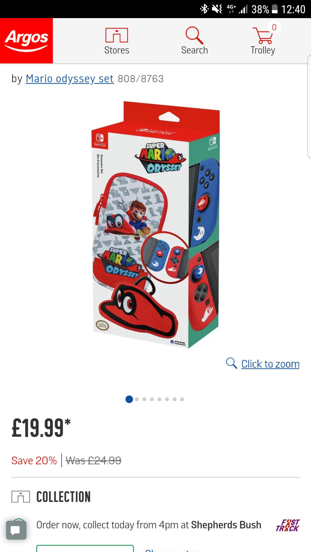 £5 off Super mario odyssey accessory set £19.99 at Argos