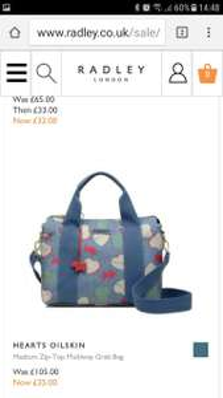 Radley Hearts oilskin medium zip topped grab bag £35 @ Radley free c&c