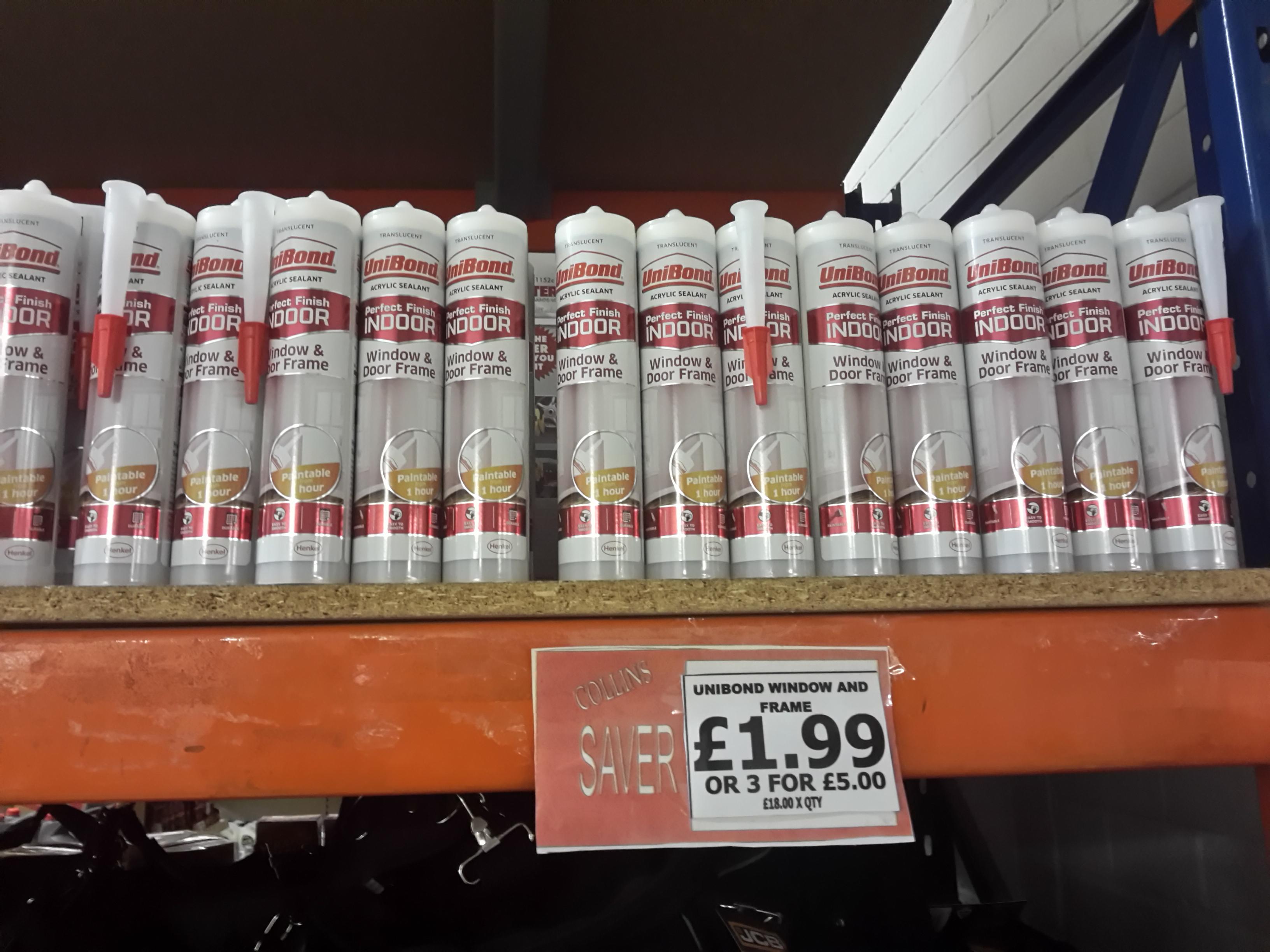 Unibond indoor window sealant £1.99 or three for £5...translucient