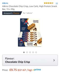 Atkins Chocolate Chip Crisp, Low Carb, High Protein Snack Bar, 15 x 30g £9.75 prime / £14.50 non prime @ Amazon