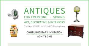 FREE ticket to Antiques Fair - Antiques for Everyone (NEC, Birmingham) 200 Stands
