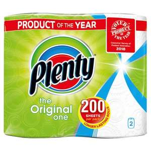 Plenty White or Decorated Kitchen Roll 200 Sheets 2s for £2 @ Waitrose