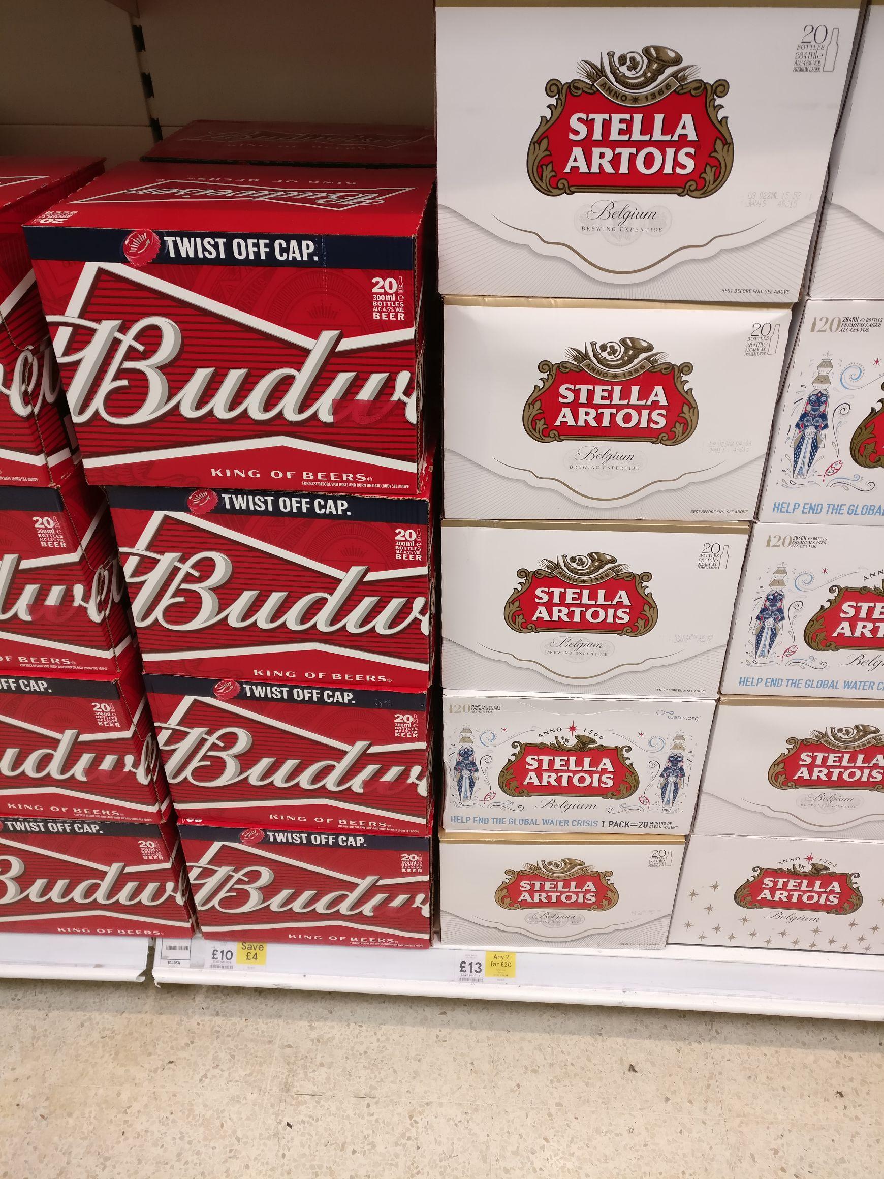 2x20 Stella Beer Just £20 or 1x20 Budwiser Beer £10 @Tesco