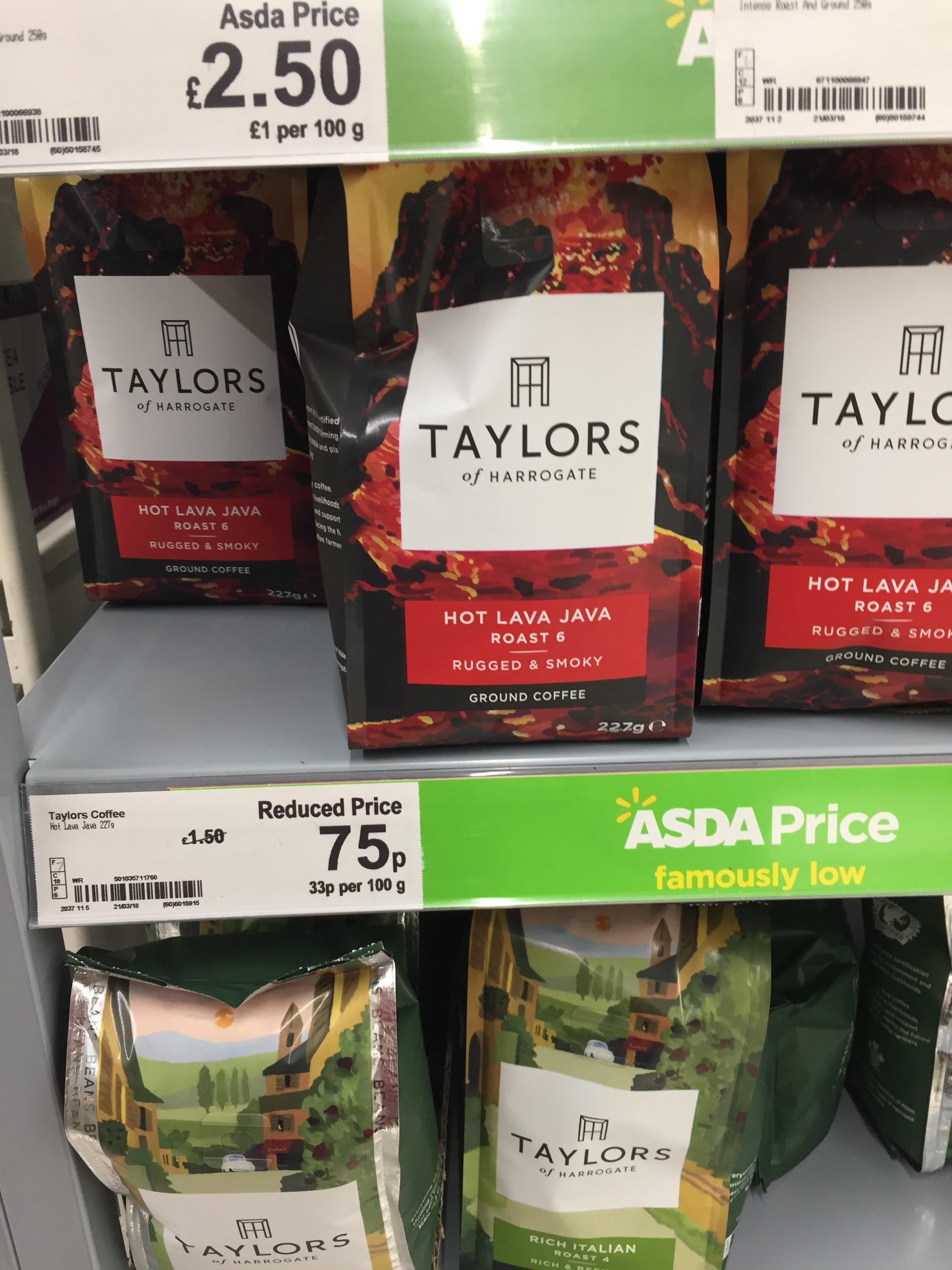 "Taylor's of Harrogate ""Hot Lava Java"" Ground Coffee 75p @ Asda"