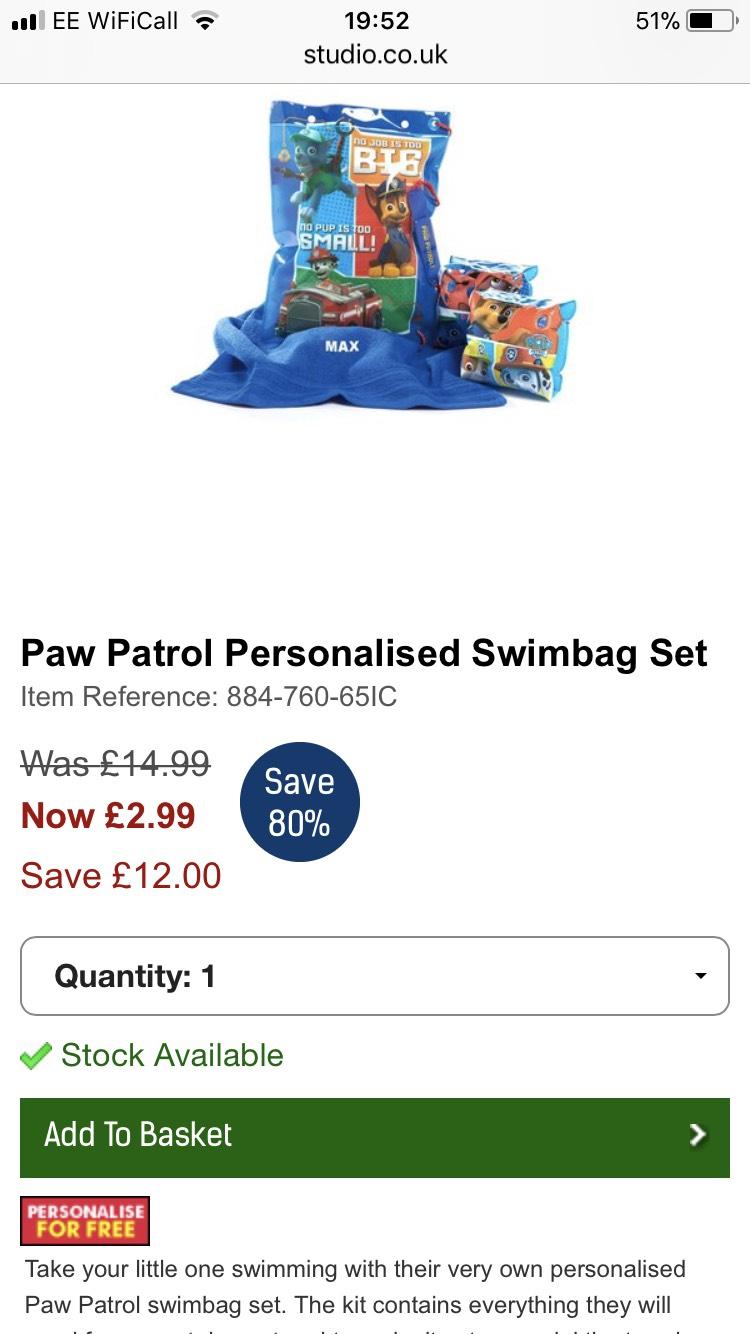 Paw patrol personalised swim bag £2.99 (+£4.99 del) @ Studio