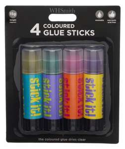 Pack of 4 Coloured Glue Sticks 99p (was £4.99) @ WH Smith - Free C&C