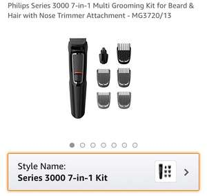 £16.99 (from RRP £30) - Philips Series 3000 7-in-1 Multi Grooming Kit for Beard & Hair with Nose Trimmer Attachment - MG3720/13 - Tesco Direct (Free C&C)