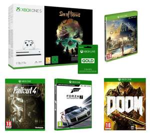 MICROSOFT 1TB Xbox One S, Sea of Thieves, Forza Motorsport 7, Assassin's Creed Origins, Fallout 4, Doom & Xbox LIVE 3 Month Gold Bundle