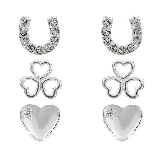 3 pairs of Sterling silver stud earrings £12.99 was £24.99 @ Argos