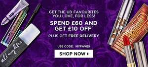 Spend £60 And Get £10 Off, Plus, Get Free Delivery With Code @ Urban Decay