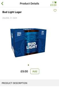 Bud light 20 x 300ml bottles £9 instore in Asda.