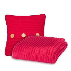 Catherine Lansfield Chunky Knit Cushion Cover & Throw Set - Red  was £30 now £11.46 C+C @ Tesco Direct (sold by Cleverboxes)
