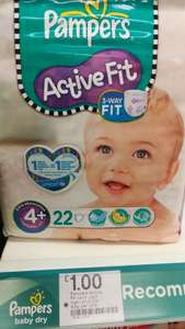 Pampers active fit nappies 4+ (22nappies) £1 @ boots - Hailsham