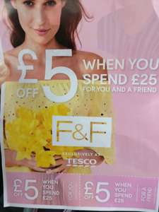 Tesco F&F in-store voucher for £5 off £25 spend
