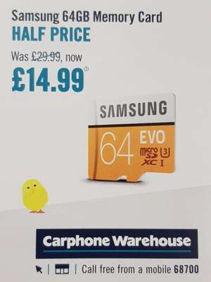 Samsung EVO 64gb 4k memory card £14.99 from Friday 28th March instore @ CarPhoneWarehouse