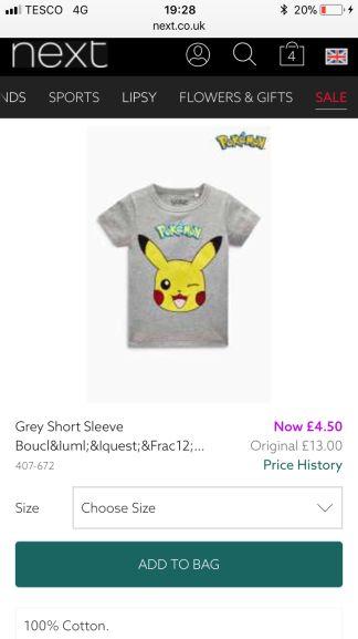 Next, grey pikachu tshirt age 2-3 £4.50