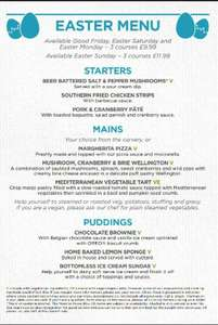 Stonehouse Pizza & Carvery - £9.99 3-course Easter Menu