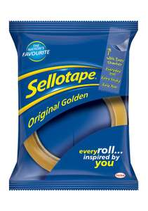 Sellotape 1443268 Original Golden Tape Roll Non-static Easy-Tear, Large 24mm x 66m - Pack 12 @ Amazon (Seller: The One Stop Sat Shop) £3.79 Delivered