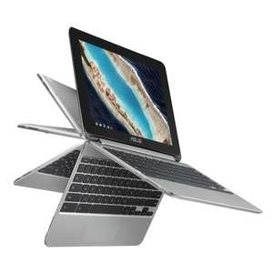 """ASUS C101PA-FS002 10.1"""" Touchscreen Chromebook Flip (Silver) - (OP1 Processor, 4GB RAM, 16GB eMMC, 10.1 360-Degree Rotatable Touchscreen, Chrome OS) for £199.99 delivered @ Amazon"""