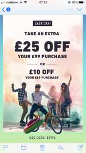 £25 off £99 spend OR £10 off £65 spend using code 32976 - Hollister