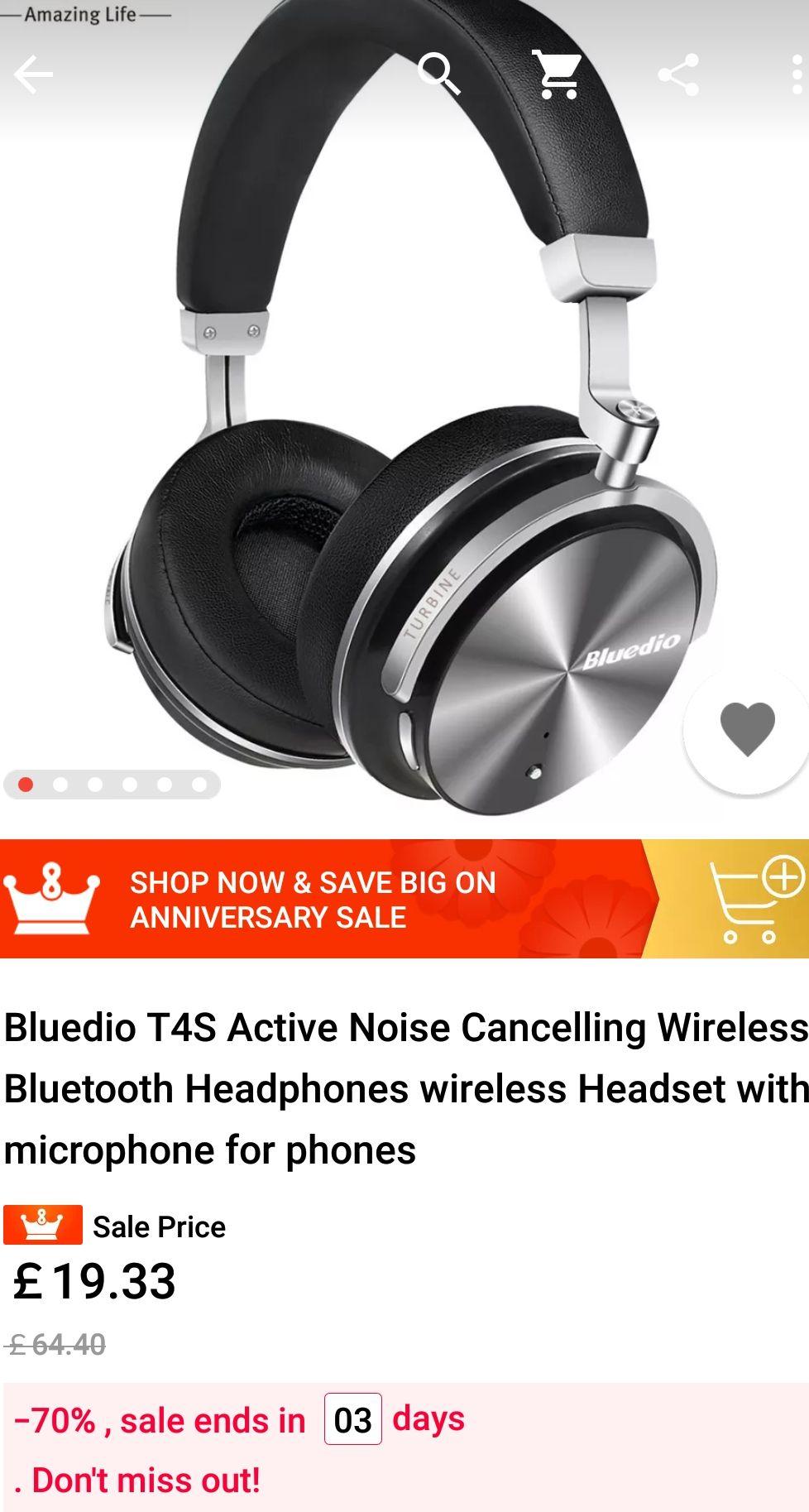 Bluedio T4S wireless headphones £19.33 @ Aliexpress via app
