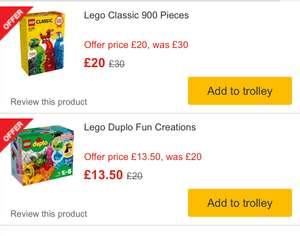 Lego classic 900 piece set 10704 was £30 now £20 & Duplo Fun creations set was £20 now £13.50 @ Morrisons