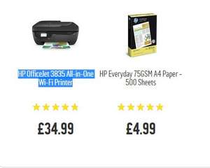 HP OfficeJet 3835 All-in-One Wi-Fi Printer + Free Printer Paper + 5 months Instant Ink Trial £31.49 C+C @ Argos