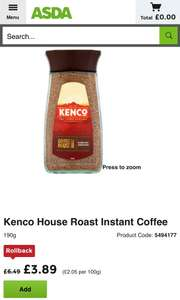 Kenco 190g house roast instant coffee only £3.89 @ Asda