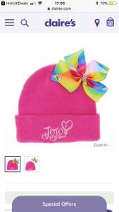 Jojo Siwa bow beenie hat reduced to £5 at Claire's accessories free click and collect