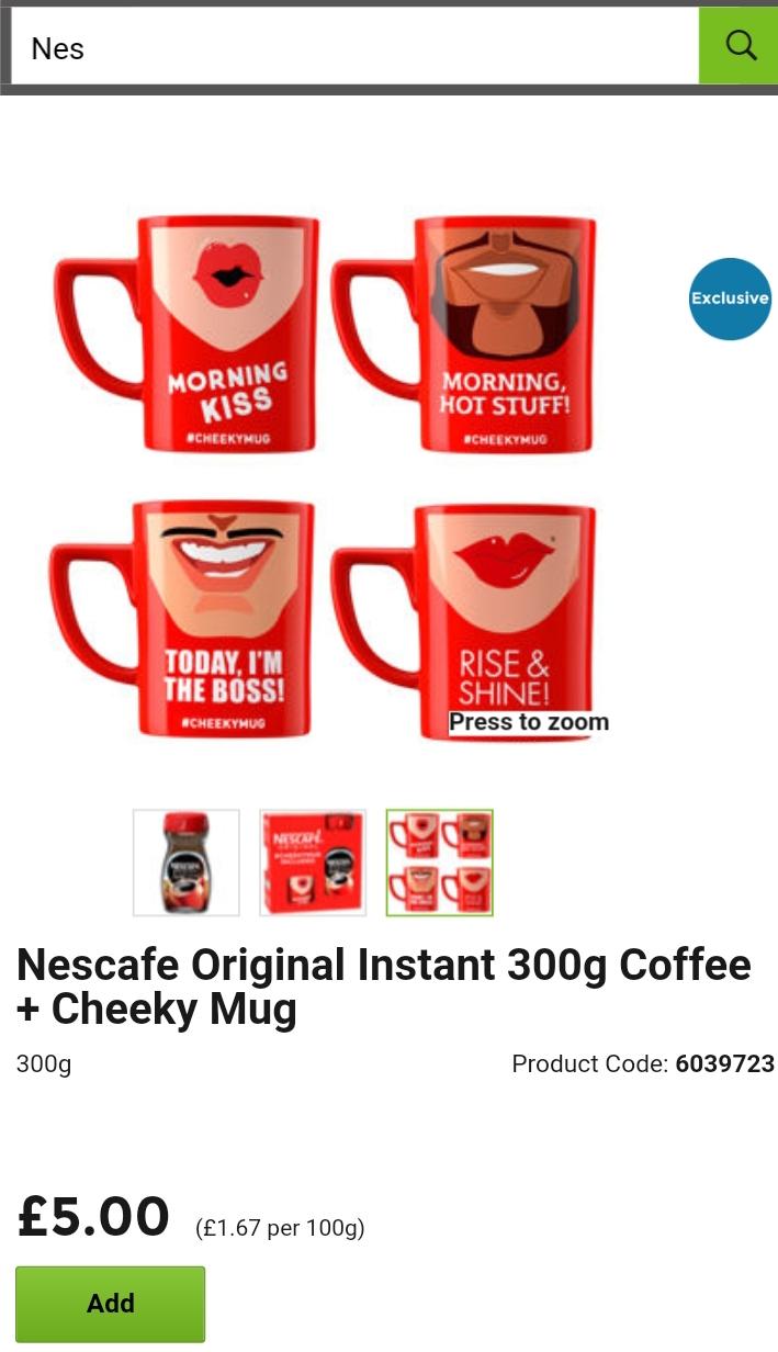 Nescafe original instant coffee 300g with cheeky mug - £5 @ ASDA