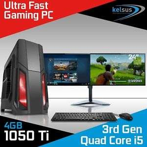 i5, 8GB RAM, GTX 1050 Ti, Windows 10 with 1 TB HDD PC + 2 x 24inch monitors + Keyboard + Mouse - £652.00 @ kelsusit eBay