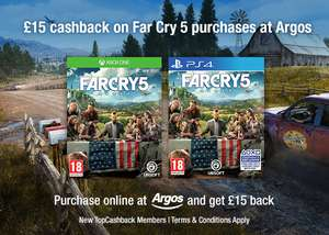 Farcry 5 £45.99 at Argos + £15 cashback through topcashback - new customers only